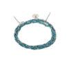 Bracelet 3 tours tressé fil turquoise et argent massif Jazz Natacha Audier Paris