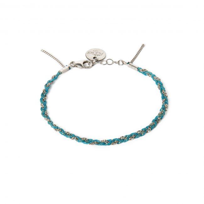 Bracelet tressé fil turquoise et argent massif Jazz Natacha Audier Paris