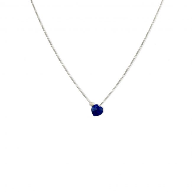 Collier coeur lapis lazuli et argent massif Lady Jane Natacha Audier Paris