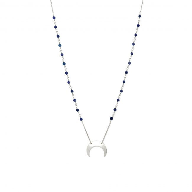 Collier lapis lazuli et argent massif Mezza luna Natacha Audier Paris