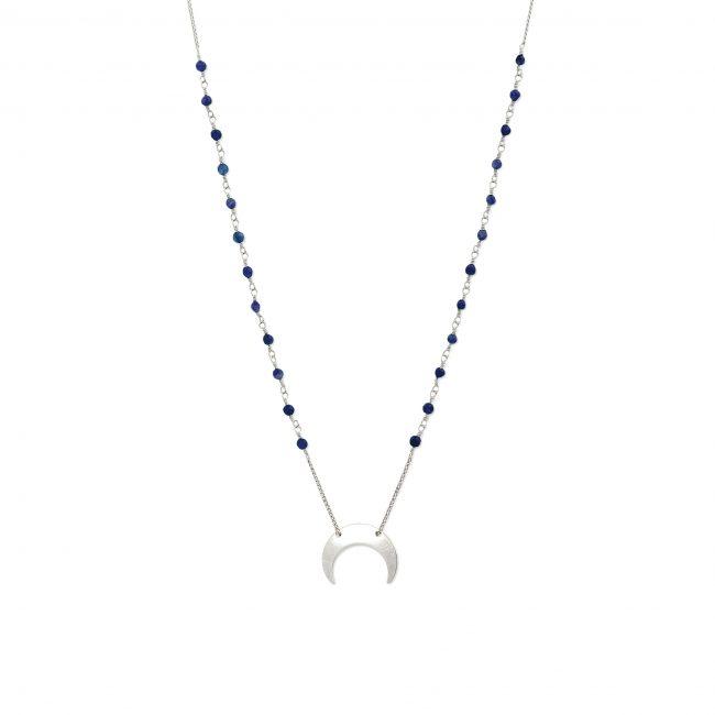 Collier lapis lazuli et argent massif Mezza luna Natacha Audier Paris