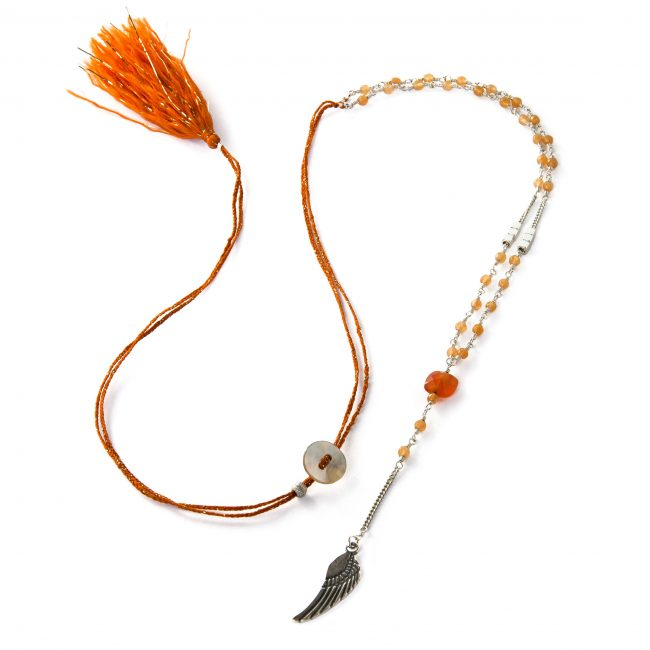 Collier cornaline et argent massif Indian spirit Natacha Audier Paris