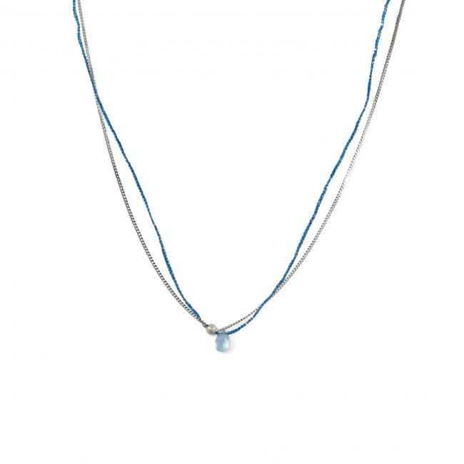 Ras du cou onyx bleu clair et argent massif Sweet Jane Natacha Audier Paris