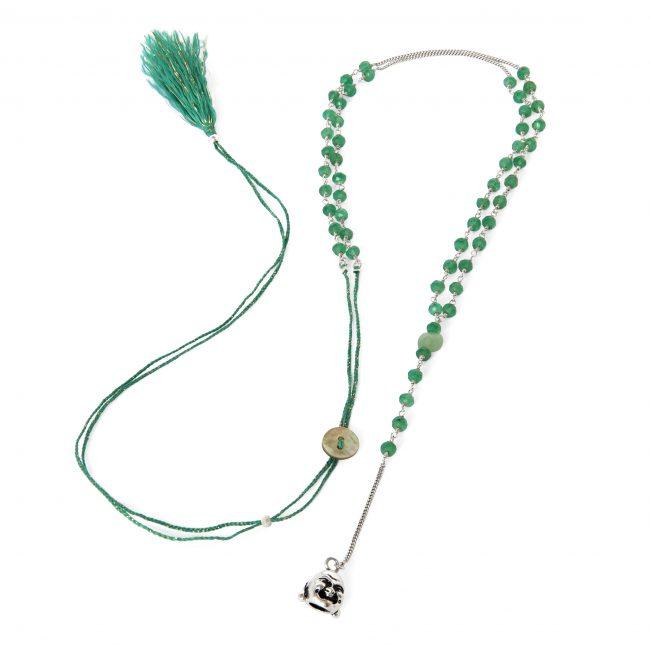 Sautoir agate verte et argent massif Indian spirit Natacha Audier Paris