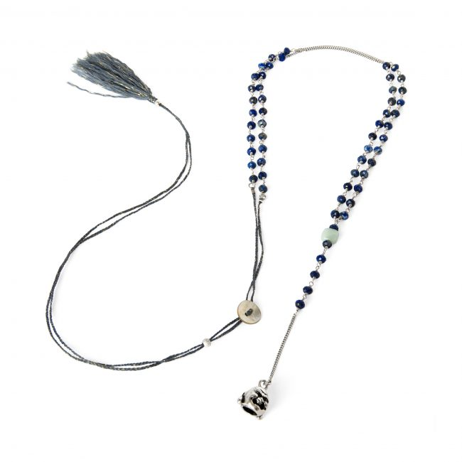Sautoir lapis lazuli et argent massif Indian spirit Natacha Audier Paris