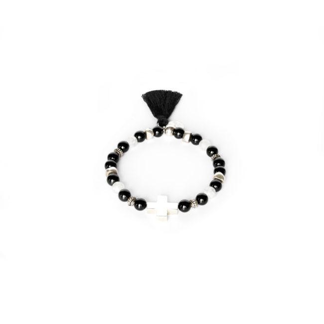 Bracelet Mala en argent massif et agate noire Natacha Audier Paris