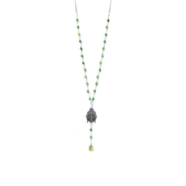 Collier bouddha en argent massif et agate verte Natacha Audier Paris