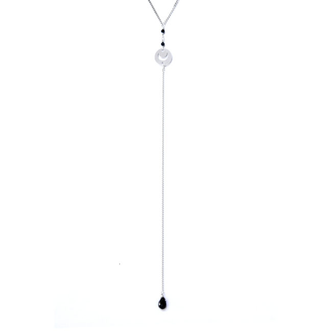 Collier mini lune en spinelle et argent massif Natacha Audier Paris