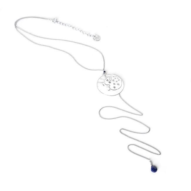 Sautoir en lapis lazuli et argent massif Minuit Natacha Audier Paris