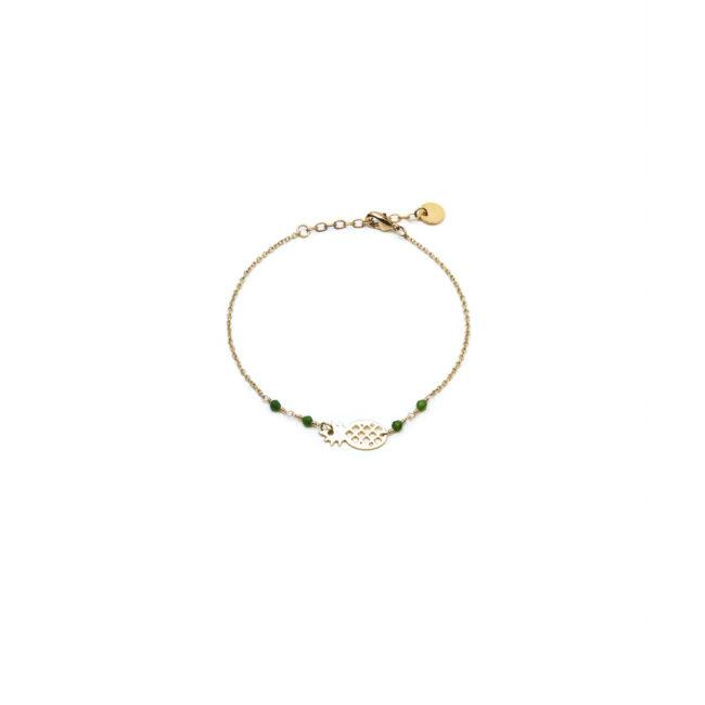 Bracelet ananas doré or fin 24K et agate verte Natacha Audier Paris