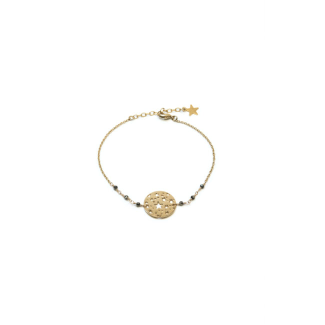 Bracelet disque étoilé doré or fin 24K et pyrite Natacha Audier Paris