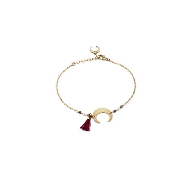 Bracelet lune doré or fin 24K et pyrite Natacha Audier Paris