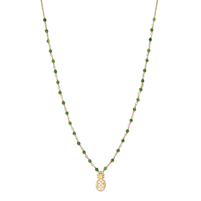 Collier ananas doré or fin 24K et agate verte Natacha Audier Paris