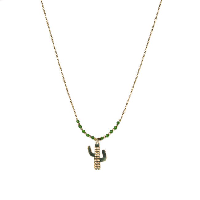 Collier cactus doré or fin 24K et agate verte Natacha Audier Paris