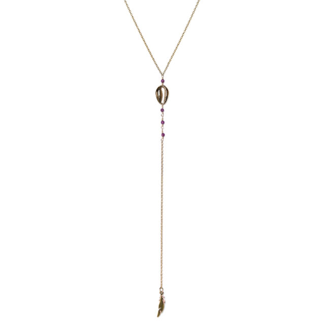 Collier cauri doré or fin 24K et grenat Natacha Audier Paris