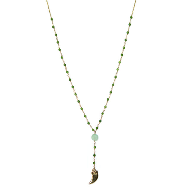 Collier dent doré or fin 24k et agate verte Natacha Audier Paris