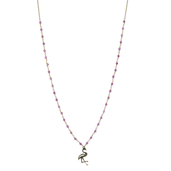 Collier flamand rose doré or fin 24K et tourmaline rose Natacha Audier Paris