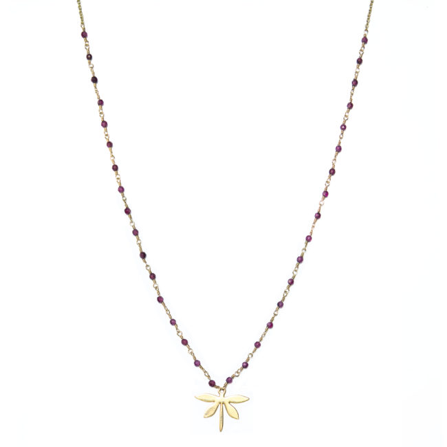 Collier libellule doré or fin 24K et grenat Natacha Audier Paris