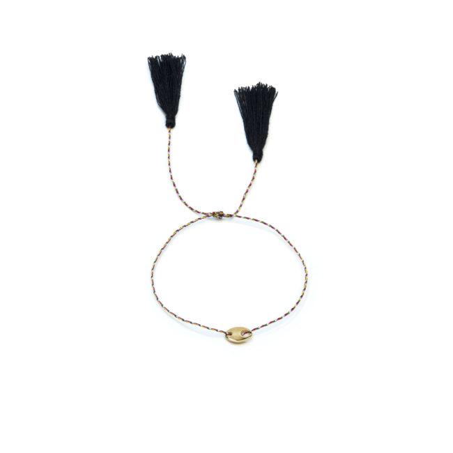 Bracelet de fil et pastille dorée or fin 24kt Natacha Audier Paris