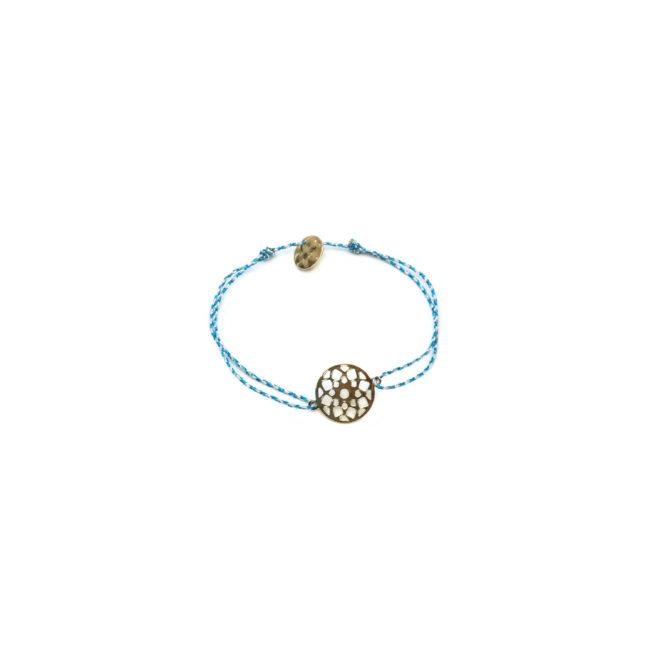 Bracelet de fil bleu et rosace dorée or fin 24kt Natacha Audier Paris