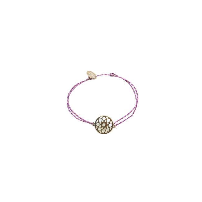 Bracelet de fil rose et rosace dorée or fin 24kt Natacha Audier Paris