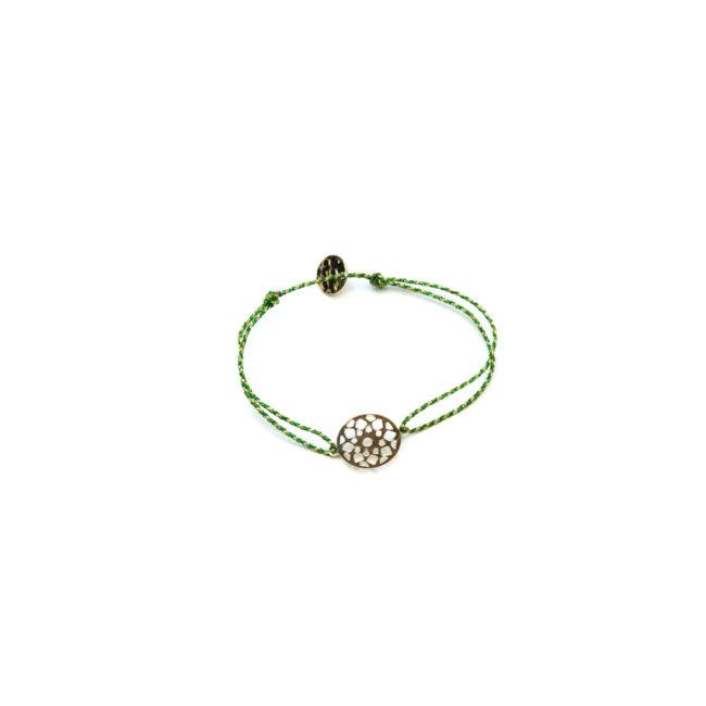 Bracelet de fil vert et rosace dorée or fin 24kt Natacha Audier Paris