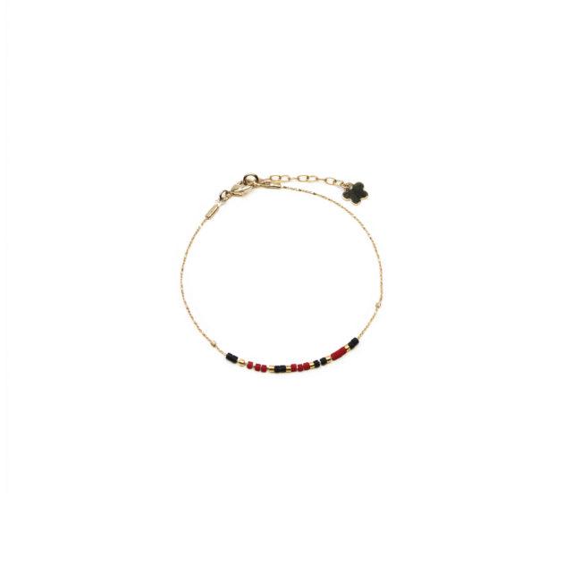 Bracelet fin Miyuki rouge doré or fin 24K Natacha Audier Paris