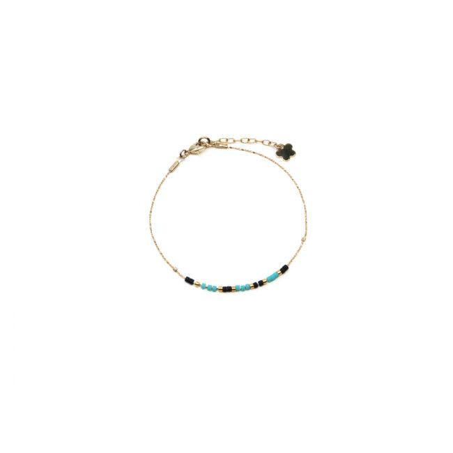 Bracelet fin Miyuki turquoise doré or fin 24K Natacha Audier Paris