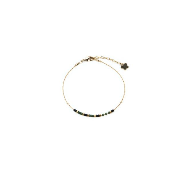 Bracelet fin Miyuki vert doré or fin 24K Natacha Audier Paris
