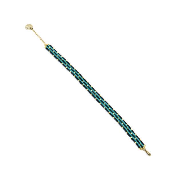 Bracelet Miyuki turquoise et pois or doré or fin 24K Natacha Audier Paris