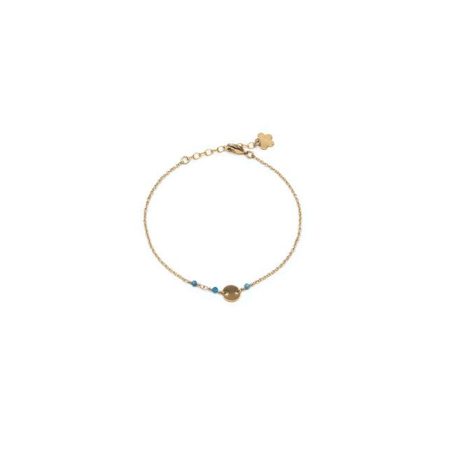 Bracelet pastille doré or fin 24K et apatite Natacha Audier Paris