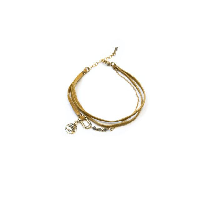 Bracelet manille doré or fin 24K et pierre de lune Natacha Audier Paris