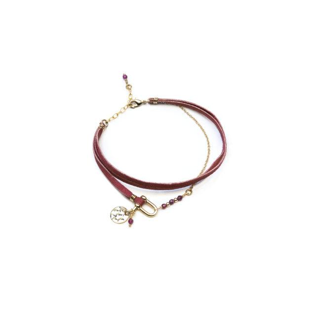 Bracelet manille doré or fin 24K et grenat Natacha Audier Paris