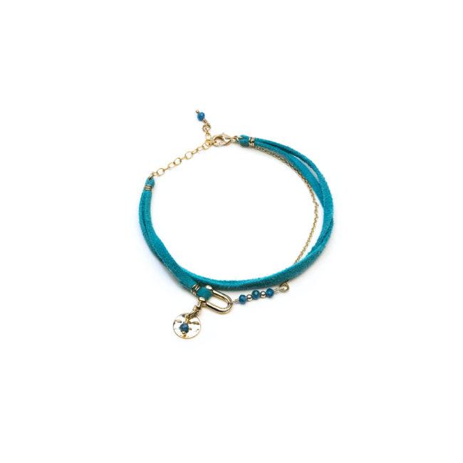 Bracelet manille doré or fin 24K et apatite Natacha Audier Paris