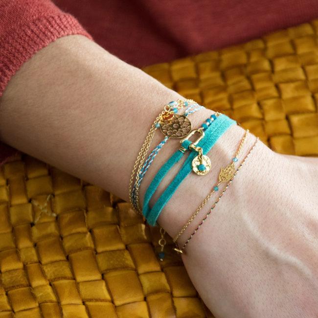 Bracelet suédine doré or fin 24K et apatite Natacha Audier Paris