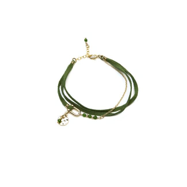 Bracelet manille doré or fin 24K et agate verte Natacha Audier Paris
