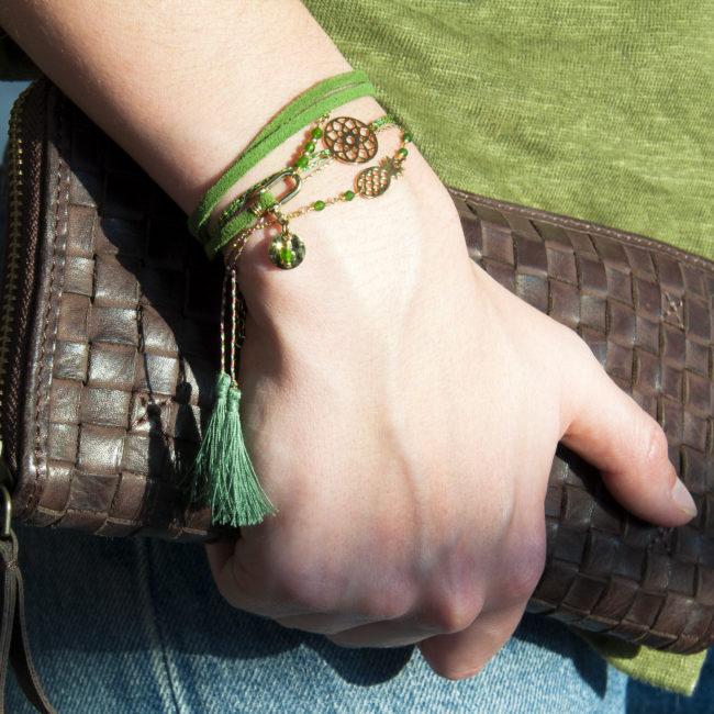 Bracelet suédine doré or fin 24K et agate verte Natacha Audier Paris