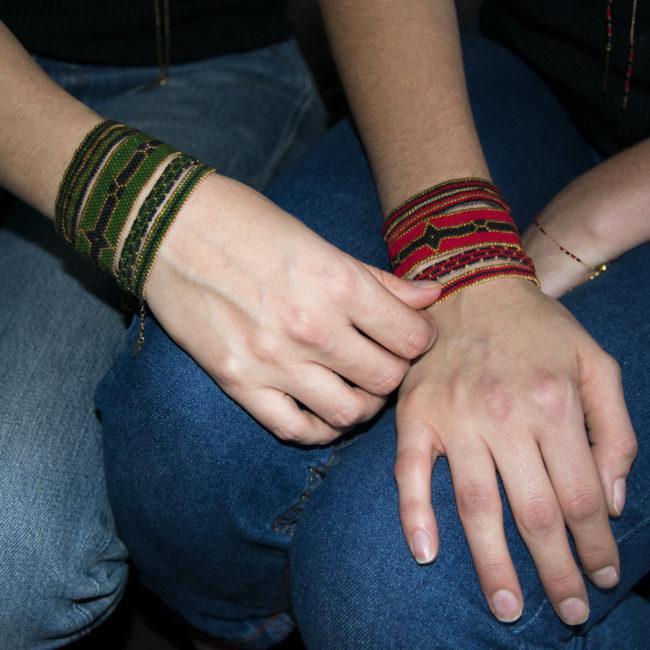 Bracelet Miyuki vert et rouge doré or fin 24K Natacha Audier Paris