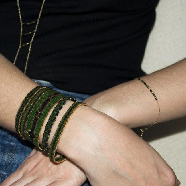 Bracelet Miyuki vert doré or fin 24K Natacha Audier Paris