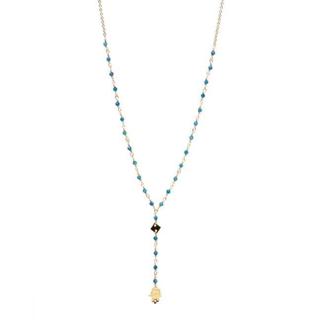 Collier Fatima doré or fin 24K et apatite Natacha Audier Paris