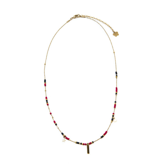 Collier Miyuki rouge doré or fin 24K Natacha Audier Paris