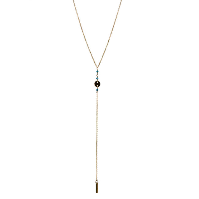 Collier pastille doré or fin 24K et apatite Natacha Audier Paris
