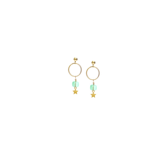 BO clou Eden chrysoprase et gold-filled 14k Natacha Audier Paris