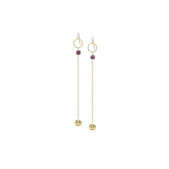 BO longues Eden grenat et gold-filled 14k Natacha Audier Paris