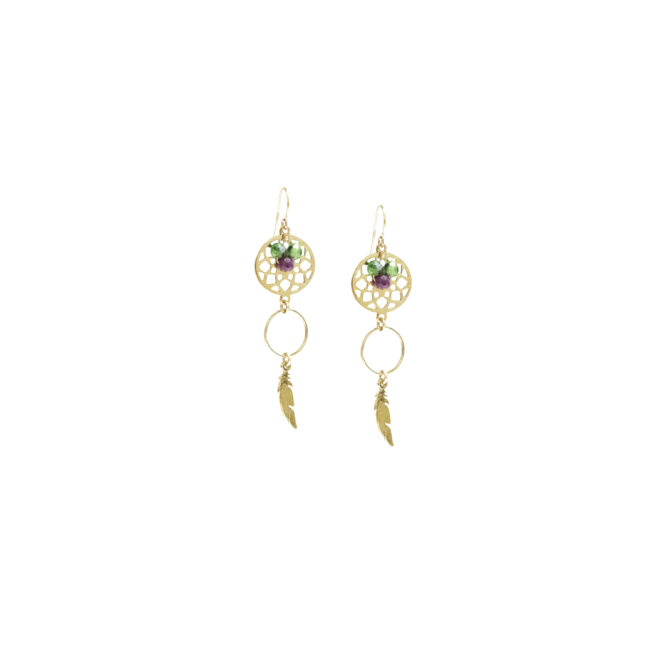 BO crochet plume zoisite et gold-filled 14k Natacha Audier Paris