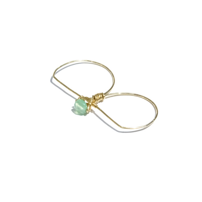 Bague double Eden chrysoprase et gold-filled 14k Natacha Audier Paris