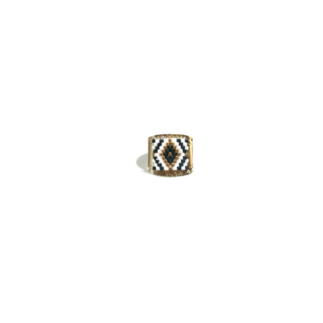 Bague ouverte miyuki blanc et gold-filled 14k Natacha Audier Paris