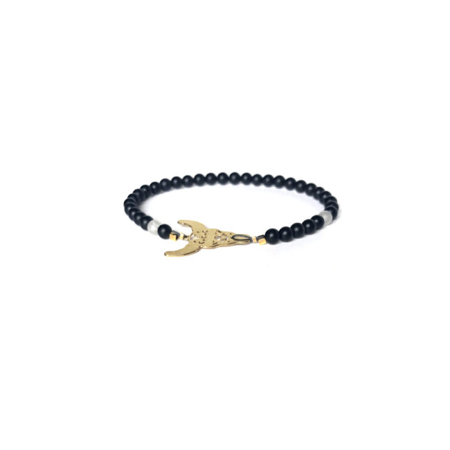 Bracelet Buffalo doré or fin 24k et agate mate Natacha Audier Paris