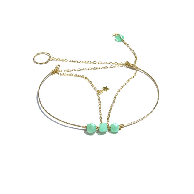 Bracelet jonc Eden chrysoprase et gold-filled 14k Natacha Audier Paris