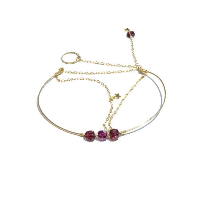 Bracelet jonc Eden grenat et gold-filled 14k Natacha Audier Paris